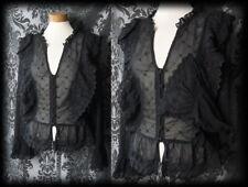 Gothic Black Lace Frill Detail DELIRIUM Blouse 14 16 Steampunk Victorian Vintage