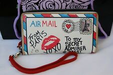 NWT Brighton Air Mail White & Multi-colored Leather Wallet Wrist-let $125