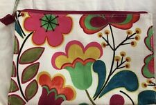"""CLINIQUE MAKEUP BAG Bright Floral Case Cosmetic Travel Pouch 9"""" Wide X 6"""" Tall"""