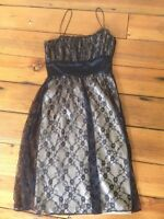 Nine West Black Lace Sheer Empire Waist Spaghetti Strap Formal Party Dress 6