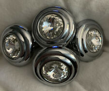 4 Beautiful Vintage Crystal & Chrome Cabinet Italian Vanity Special Pulls Knobs