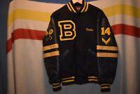 vtg Black Yellow Wool Leather Letterman Jacket Coat Men's Medium Usa Made BLAZE