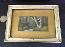 Antique Minature Oil Painting Old Birch Trees Next To Forest Stream Framed