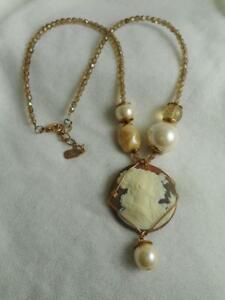 ITALIAN FACETED TOPAZ CRYSTAL BEAD & FAUX PEARL NECKLACE W/ MOLDED CAMEO & PEARL