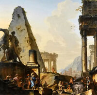 Oil capriccio of classical ruins & alexander the great opening the of achilles