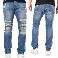 Redbridge Herren Jeans Hose Jeanshose Pants Zipper Destroyed Straight Fit Blau