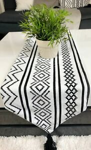 Tasselled Table Runner Bohemian Indian Embroidered Decorative Table Runner Woven