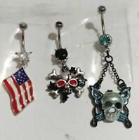 Lot of 3 Belly Button Ring Navel Set Piercing Body Jewelry American Flag Skull