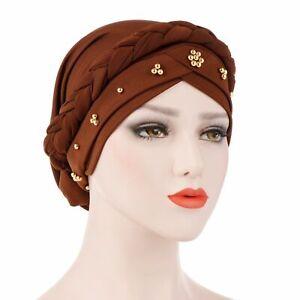 Head Scarf Hijab Hair Loss Women Turban Cap Cancer Chemo Hat Muslim Beads Braid