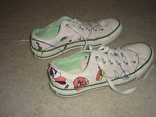 Floral Women's Converse All Star Sneakers, Low Top, Pale Pink Chucks, Laces Sz 9