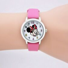 Free Gift Bag Children's Disney Mickey Minnie Mouse Watch Girls Pink Strap Cute