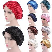 Women's Floral Silk Night Sleep Hat Hair Bonnet Cap Head Cover Satin Turban Wrap
