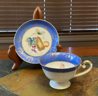 Vintage Hand Painted Fern Japan Teacup Saucer Pear Fruit Pattern Gold Blue