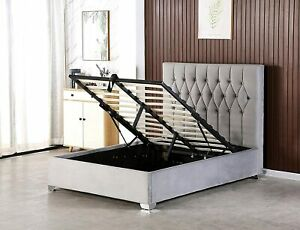Bed Centre Double Ziggy Grey Plush Fabric Upholstered Ottoman Storage Bed Frame