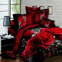 4Pcs/set 3D Rose Bedding Set Quilt Cover Pillowcase Bed Sheet Queen Duvet Cover
