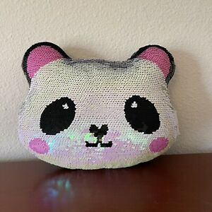 Panda Iscream Sequin Pillow Reversible Pink
