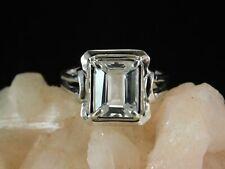 2.58 Ct. Emerald Cut Aquamarine Ring Simple Sterling Silver