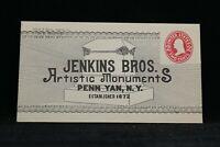 NY: Penn Yan ca. 1910 Jenkins Funeral Monuments Unused Return Advertising Cover