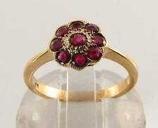 CLASSIC 9K 9CT GOLD INDIAN RUBY DAISY  ART DECO INS RING FREE RESIZE