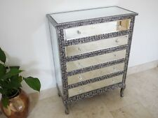 BLACK/SILVER EMBOSSED MIRRORED CHEST OF DRAWERS