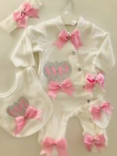5 PIECE BABY GIRL SET BABY SHOWER GIFT CLOTHES ROMPER OUTFIT SET VELVOUR PINK