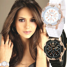 2 Pcs Fashion Women Faux Chronograph Waterproof Rhinestones Sport Wrist Watches
