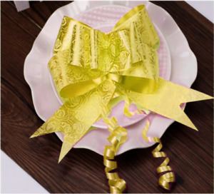 1 Bows Yellow LARGE Ribbon Bows Colour Easy Pull Flowers Party Decoration