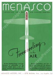 1931 art deco plane green Menasco engine vintage print ad new poster 17x24