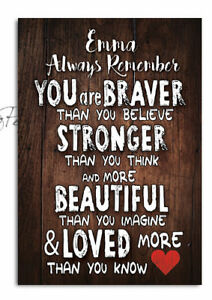 Personalised Plaque Braver than you think Daughter, Sister Gift Wooden Plaque
