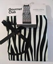 Gourmet Club Hostess Apron One Size Fits Most 100% Cotton New Nwt black white