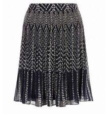 Monsoon Sophia Navy Spotted Pleated Skirt Size 16 Bnwt