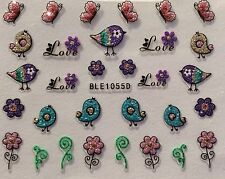 Nail Art 3D Stickers Glitter Decals Easter Spring Love Birds Flowers BLE1055D