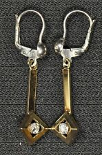 14k Yellow Gold Diamond Dangle Earrings - Gently Used - J-190A