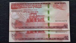 ETHIOPIA 50 Birr 2020 P New x 2 Consecutive UNC Banknotes