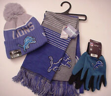 """Detroit Lions """"NFL"""" Authentic! Licensed! Team Logo Gifts Cap-Scarf-Gloves (ONSL)"""