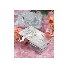 Bonbonnière utile noces emballé baptême miroir sac à main papillons argent