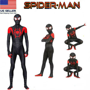 USA Spider-Man Miles Morales Jumpsuits Adults Spandex Bodysuits Cosplay Costume