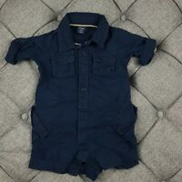 Baby GAP Boys Navy Blue Linen & Cotton One Piece Romper 6-12 Months