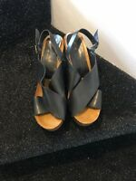 aldo ladies black wedged slingback sandals USA 10.5 uk 8.5