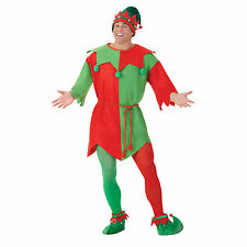 Adult Men's Christmas Magical Elf Tunic Red Green Fancy Dress Party Costume