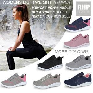 Ladies Get Fit Go Walking Trainers Lightweight Gym Running Memory Foam Shoe Size
