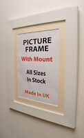 Large White Picture Frame with Mount | Choice of Ivory, Black or White Mount