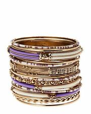 AMRITA SINGH Monaco Purple/Ivory 16 Bangle Bracelet Set -NWT
