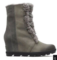 New SoreL Women Joan of Arctic Wedge II Shearling Leather Boot Quarry Size US 9