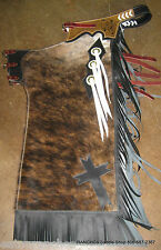 Hair On Eaton Ranch Leather Pro Rodeo Bullriding Chaps Chap Metallic Made 2 Orde