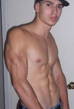 Shirtless Latino Jock Male Bare Chest 6 Pack Abs Earring PHOTO 4X6 Pinup P693