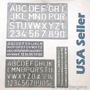 """4 piece SET 1-1/8"""" Alphabet Letters & Numbers Stencils Plastic YOU CHOOSE COLOR"""