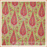 BonEful Fabric FQ Cotton Quilt VTG Yellow Green Pink White Paisley Flower Calico