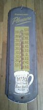 Vintage 1950 Mug Old Fashioned Root Beer Metal Thermometer Sign