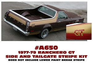 A650 1977-79 FORD RANCHERO - GT UPPER SIDE STRIPE & TAILGATE DECAL KIT